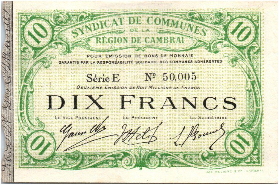 Frankreich 10 Francs Cambrai City - 1916