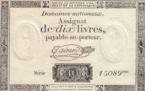 Frankreich 10 Livres Black Watermark Republique (24-10-1792) - French Revolution