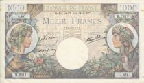 Frankreich 1000 Francs Commerce and Industry - 29-06-1944 Serial B.2611