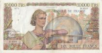 Frankreich 10000 Francs Woman with globe - 02-04-1953 - Serial D.4523
