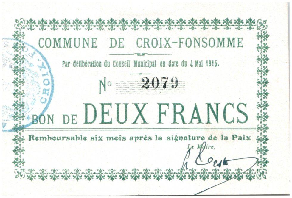 Frankreich 2 Francs Croix-Fonsomme City - 1915