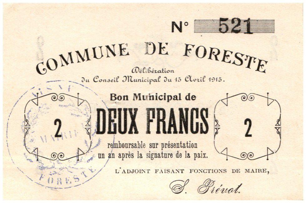 Frankreich 2 Francs Foreste City - 1915