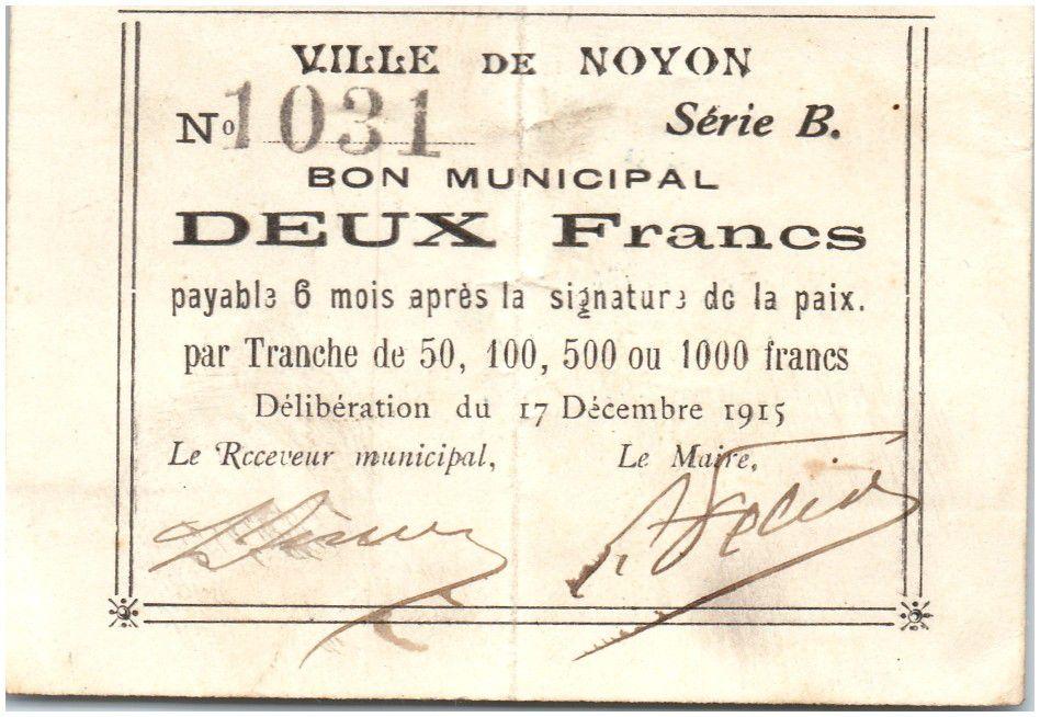 Frankreich 2 Francs Noyon City - 1915