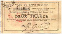 Frankreich 2 Francs Saint-Quentin City - 1915