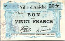 Frankreich 20 Francs Aniche City - 1915