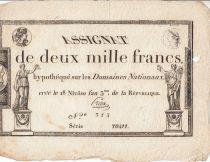 Frankreich 2000 Francs 18 Nivose Year III - 7.1.1795 - Sign. Preux