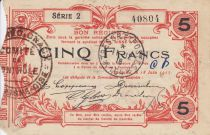 Frankreich 5 Francs Fourmies City - 1917