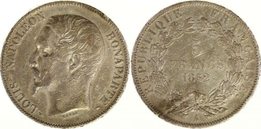 Münze Frankreich 5 Francs Louis Napoleon Bonaparte Small Head 1852 A