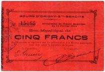 Frankreich 5 Francs Origny-Sainte-Benoite City - 1915