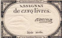 Frankreich 5 Livres 10 Brumaire An II (31-10-1793) - Sign. Arnoux