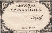 Frankreich 5 Livres 10 Brumaire An II (31-10-1793) - Sign. Coipel