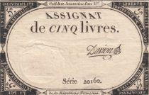 Frankreich 5 Livres 10 Brumaire An II (31-10-1793) - Sign. Davion