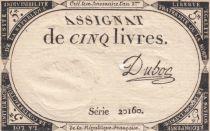 Frankreich 5 Livres 10 Brumaire An II (31-10-1793) - Sign. Dubosc
