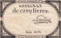 Frankreich 5 Livres 10 Brumaire An II (31-10-1793) - Sign. Lambert