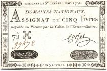 Frankreich 5 Livres Embossed seal with Louis XVI (1791-11-01)