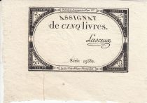 Frankreich 5 Pounds 10 Brumaire Year II (31.10.1793) - Sign. Lasceux