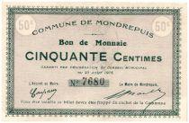 Frankreich 50 cent. Mondrepuis City - 1915