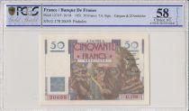 Frankreich 50 Francs Le Verrier - 1951 - PCGS AU 58