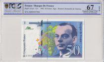 Frankreich 50 Francs Saint-Exupéry - 1992 Serial A.000047206 - PCGS 67 OPQ