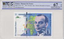 Frankreich 50 Francs Saint-Exupéry - 1992 Serial J002 - PCGS 67 OPQ