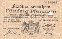 Frankreich 50 Pfennige 1917, Mulhouse Mülhausen, Stadtkassenschein