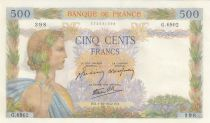 Frankreich 500 Francs Pax with wreath - 01-10-1942 Serial G.6902 - 2nd ex