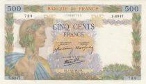 Frankreich 500 Francs Pax with wreath - 01-10-1942 Serial S.6947 - aUNC