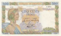 Frankreich 500 Francs Pax with wreath - 01-10-1942 Serial S.6964- aUNC