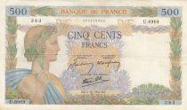 Frankreich 500 Francs Pax with wreath - 01-10-1942 Serial U.6969