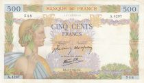 Frankreich 500 Francs Pax with wreath - 02-01-1942 Serial A.4297