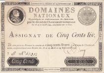 Frankreich 500 Livres - 16 and 17 April and 29 September - Sign. Desrez - Serial F - Nº 43212
