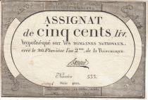Frankreich 500 Livres 20 Pluviose An II - 8.2.1794 - Sign. Barraud