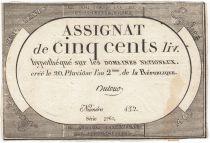 Frankreich 500 Livres 20 Pluviose An II - 8.2.1794 - Sign. Dutour