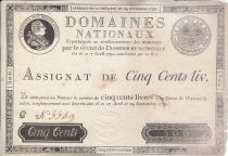 Frankreich 500 Livres Louis XVI - 29 Sept. 1790 - Serial C Nº 5549
