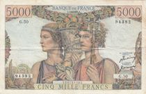 Frankreich 5000 Francs Sea and Countryside - 05-04-1951 Serial B.62