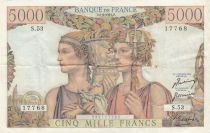 Frankreich 5000 Francs Sea and Countryside - 05-04-1951 Serial S.53