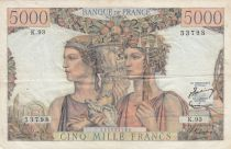 Frankreich 5000 Francs Sea and Countryside - 07-02-1952 Serial K.93