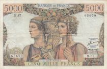Frankreich 5000 Francs Sea and Countryside - 07-02-1952 Serial M.87