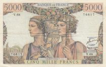 Frankreich 5000 Francs Sea and Countryside - 16-08-1951 Serial V.68