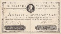 Frankreich 90 Livres 16-17 April and 29 September - 1790 - Sign. Lefebvre