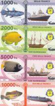 Französische Südliche Erden Set of 4 banknotes Glorieuses islands, fish, boats - 2018 - Fantaisy