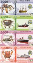 Französische Südliche Erden Set of 4 banknotes Juan de Nova, shellfish, boats - 2018 - Fantaisy