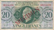 Französisches Äquatoriales Afrika 20 Francs Marian - France Libre - 1941 - Specimen LB924458