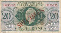 Französisches Äquatoriales Afrika 20 Francs Marian - France Libre - 1941 - Specimen LB936655