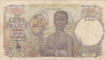 Französisches Westafrika 100 Francs 1943 - Woman with fruits, Family - Serial B.9500