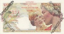 Frech Guiana 1000 Francs France Union - Type 1946 Specimen