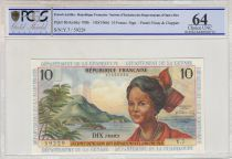 French Antilles 10 Francs  Young Girl - 1966 Serial Y.7  PCGS UNC 64