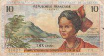 French Antilles 10 Francs Girl, sugar cane - 1964 - Serial F.6 - F to VF - P.8b