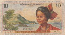 French Antilles 10 Francs Girl, sugar cane - 1964 - Serial G.5 - F to VF - P.8b