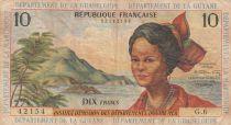 French Antilles 10 Francs Girl, sugar cane - 1964 - Serial G.6 - F to VF - P.8b
